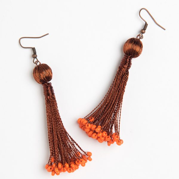 boucles d'oreilles fil de cuivre et perles - earrings copper wire and beads - afrique du sud - south africa | mahatsara
