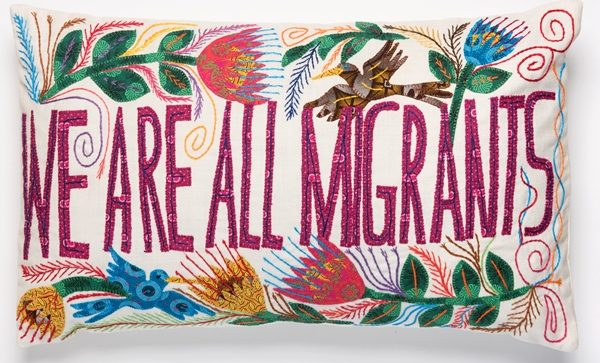 coussin brodé africa embroidered cushion we are all migrants