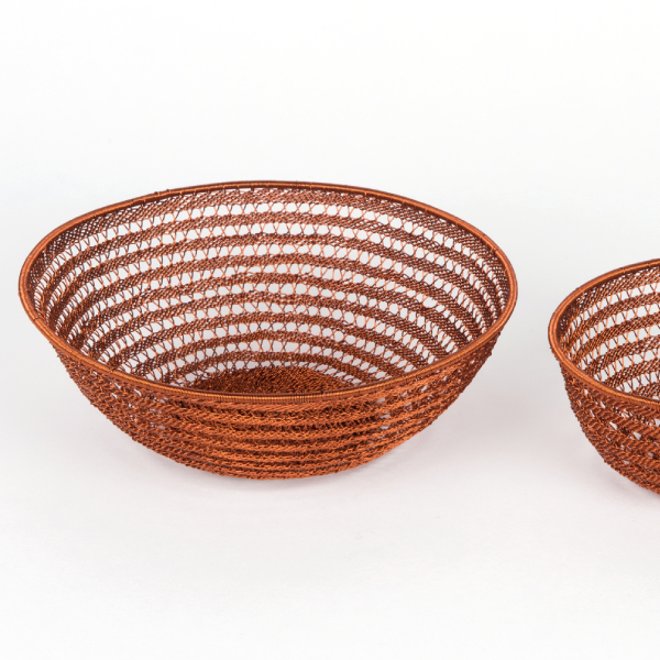 vannerie en fil de cuivre - copper wire baskets