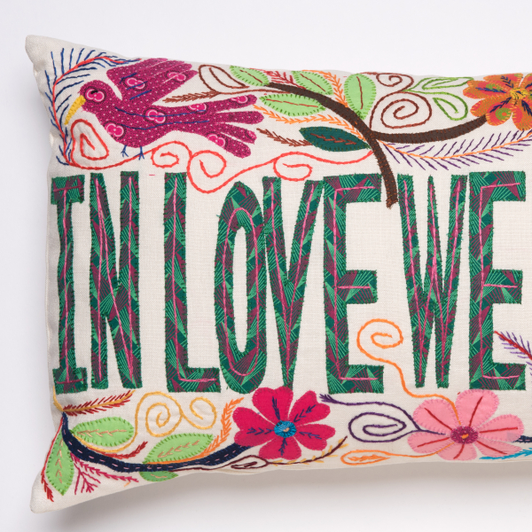 coussin brodé africa embroidered cushion in love we trust