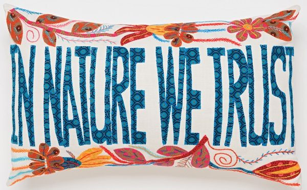 coussin brodé africa embroidered cushion in nature we trust