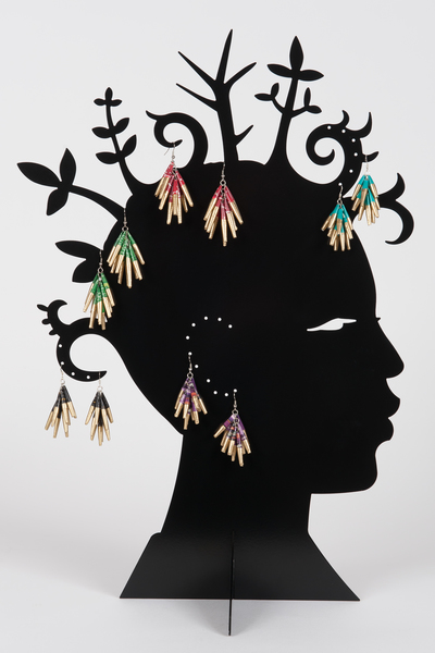 boucles d'oreilles en papier magazine recyclé - recycled magazine paper earrings - swaziland | mahatsara