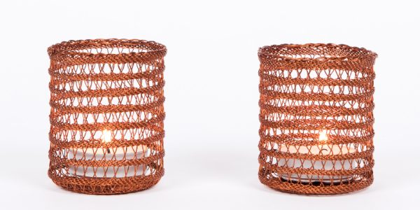 photophore en fil de cuivre - copper wire t-light candleholder | mahatsara