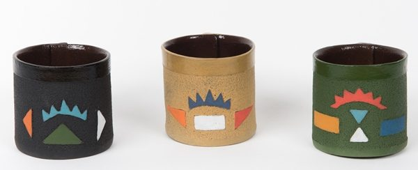 tasses à expresso en céramique motifs zoulous - espresso cup in ceramic zulu patterns - isiqhaza | mahatsara
