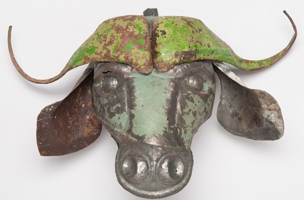 trophée en métal récupéré - animal head in recycled metal | mahatsara